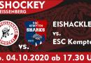 Erstes Punktspiel der Eishackler am 04.10.2020 gegen Kempten